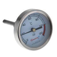 Термометр биметаллический осевой, 0-120 гр.С., корпус из нержавейки
